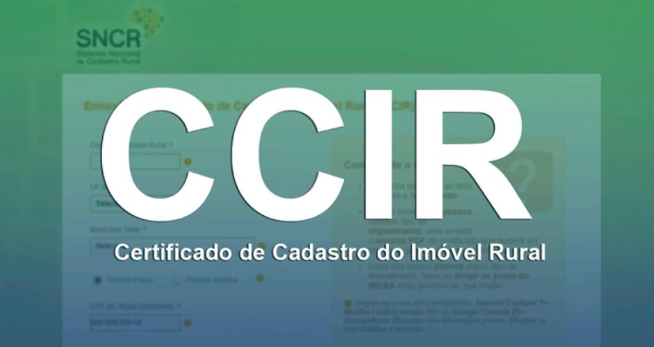 CCIR - Certificado de Cadastro de Imóvel Rural do exercício 2019.