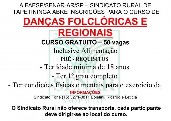 DANÇAS FOLCLÓRICAS E REGIONAIS - 2018