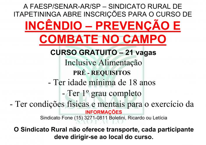 INCÊNDIO - COMBATE NO CAMPO - 2018