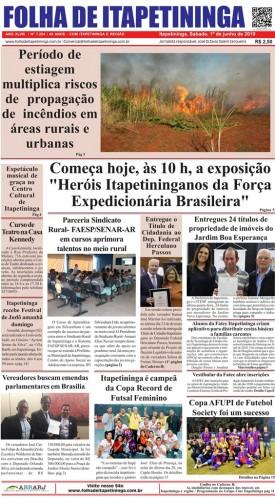 Matéria Jornal Folha de Itapetininga 01/06/2019