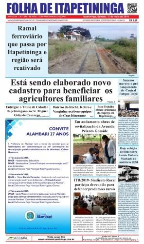 Matéria Jornal Folha de Itapetininga 11/05/2019