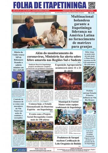 Matéria Jornal Folha de Itapetininga dia 01/02/2020