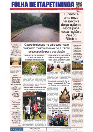 Matéria Jornal Folha de Itapetininga dia 03/08/2019