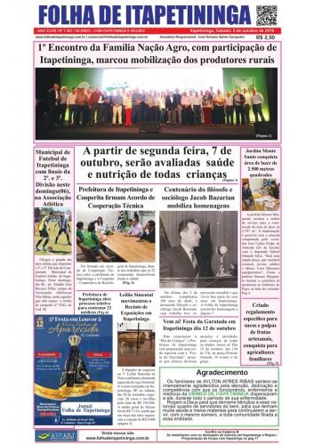 Matéria Jornal Folha de Itapetininga dia 05/10/2019