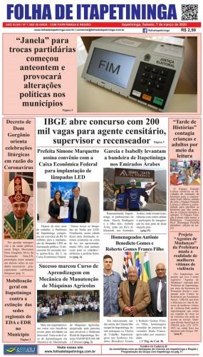 Matéria Jornal Folha de Itapetininga dia 07/03/2020