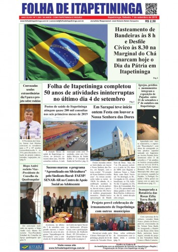 Matéria Jornal Folha de Itapetininga dia 07/09/2019