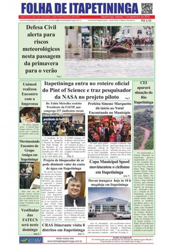 Matéria Jornal Folha de Itapetininga dia 07/12/2019