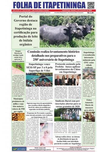 Matéria Jornal Folha de Itapetininga dia 08/02/2020