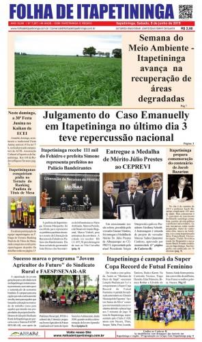 Matéria Jornal Folha de Itapetininga dia 08/06/2019