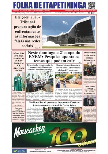 Matéria Jornal Folha de Itapetininga dia 09/11/2019