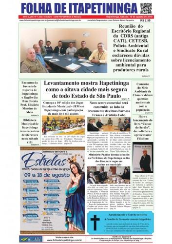 Matéria Jornal Folha de Itapetininga dia 10/08/2019