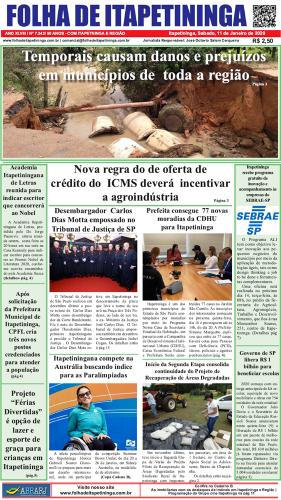 Matéria Jornal Folha de Itapetininga dia 11/01/2020