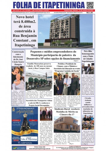 Matéria Jornal Folha de Itapetininga dia 12/10/2019