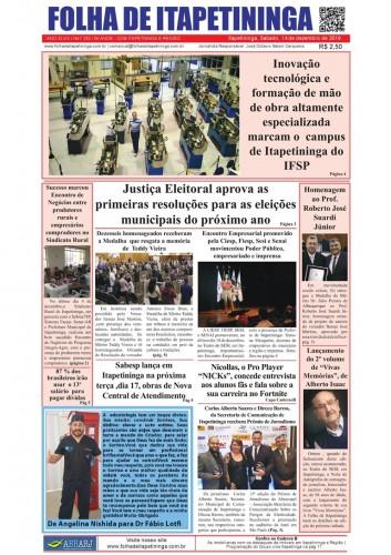 Matéria Jornal Folha de Itapetininga dia 14/12/2019