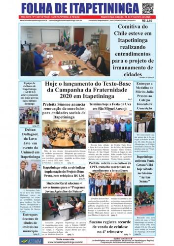 Matéria Jornal Folha de Itapetininga dia 15/02/2020