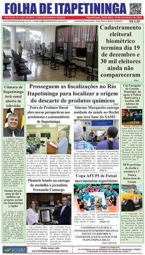 Matéria Jornal Folha de Itapetininga dia 15/11/2019