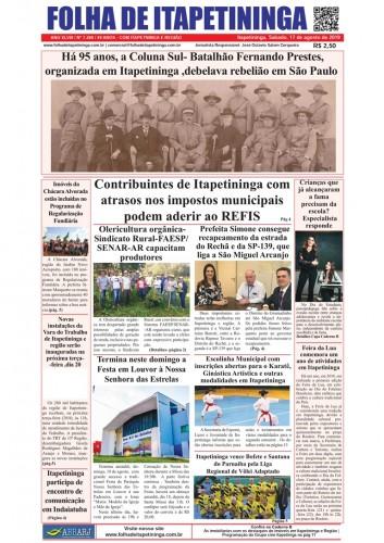 Matéria Jornal Folha de Itapetininga dia 17/08/2019