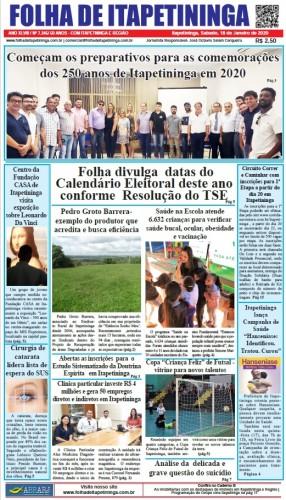 Matéria Jornal Folha de Itapetininga dia 18/01/2020