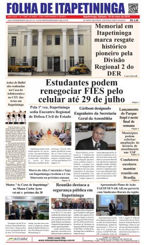 Matéria Jornal Folha de Itapetininga dia 18/05/2019