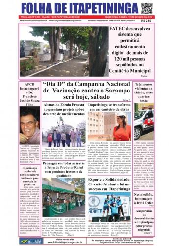 Matéria Jornal Folha de Itapetininga dia 19/10/2019