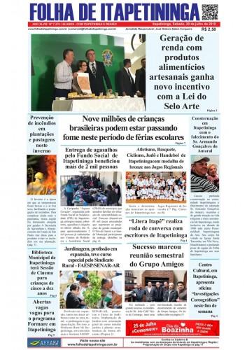 Matéria Jornal Folha de Itapetininga dia 20/07/2019
