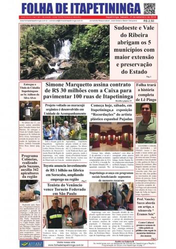 Matéria Jornal Folha de Itapetininga dia 21/09/2019
