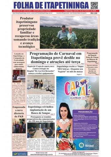 Matéria Jornal Folha de Itapetininga dia 22/02/2020
