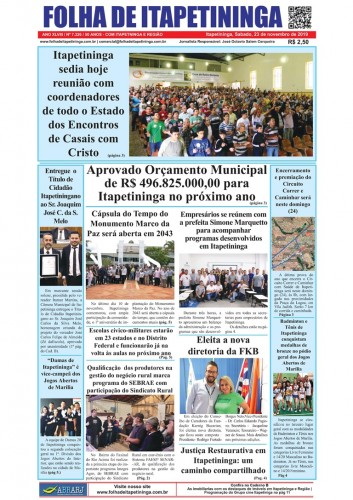 Matéria Jornal Folha de Itapetininga dia 23/11/2019