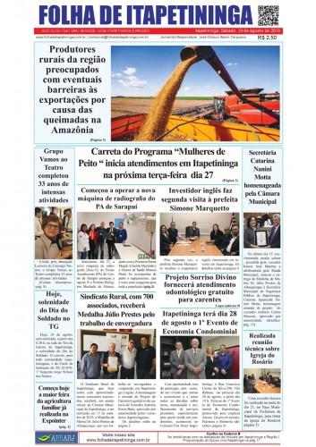 Matéria Jornal Folha de Itapetininga dia 24/08/2019