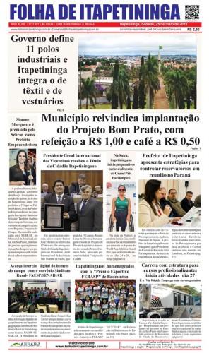Matéria Jornal Folha de Itapetininga dia 25/05/2019