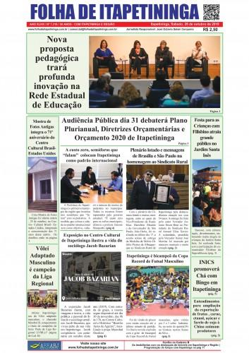 Matéria Jornal Folha de Itapetininga dia 26/10/2019