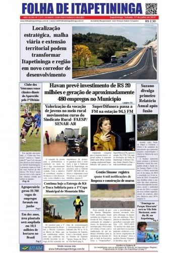 Matéria Jornal Folha de Itapetininga dia 27/07/2019