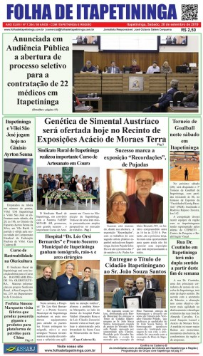 Matéria Jornal Folha de Itapetininga dia 28/09/2019