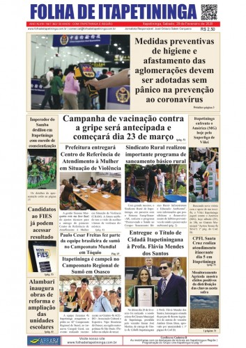 Matéria Jornal Folha de Itapetininga dia 29/02/2020
