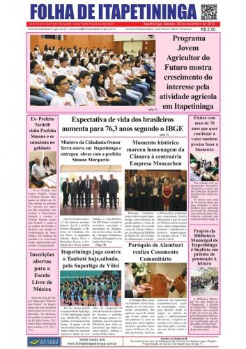 Matéria Jornal Folha de Itapetininga dia 30/11/2019