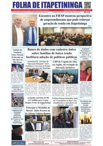 Matéria Jornal Folha de Itapetininga dia 31/08/2019