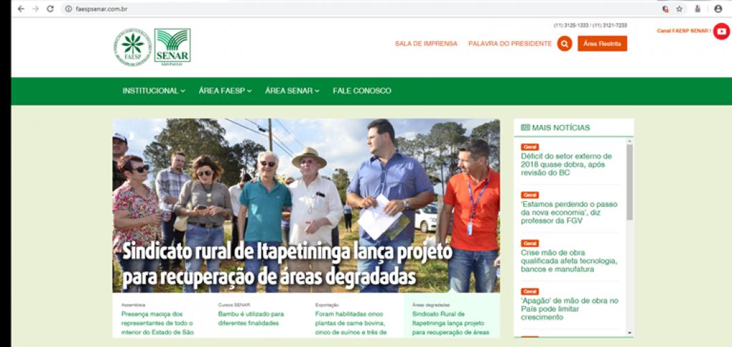 Matéria site FAESP/SENAR-AR/SP do dia 12-11-2019