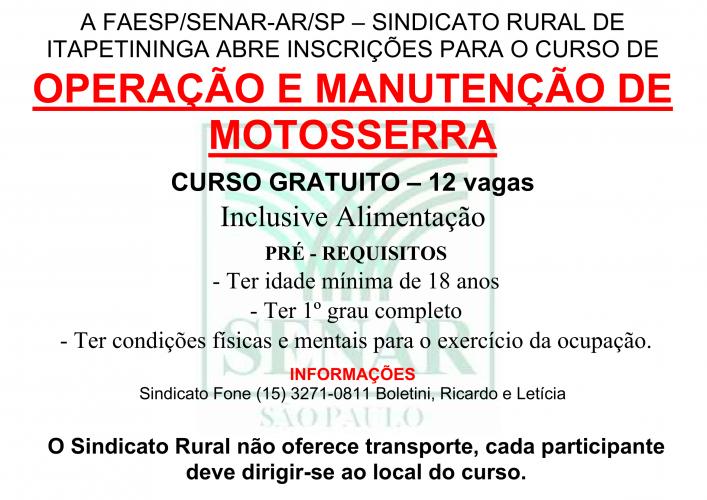 OPERAÇÃO DE MOTOSSERRA - 2018