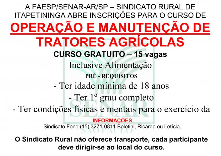 OPERAÇÃO E MANUTENÇÃO DE TRATORES - 2018